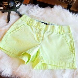 J. Crew CHINO Shorts Florescent Yellow/Green 00